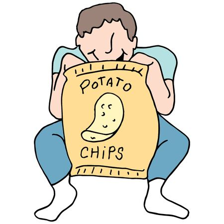 potato chips: An image of a Man eating potato chips.