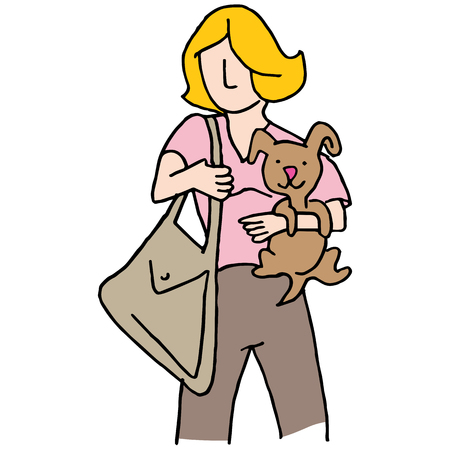 small dog: An image of a Woman holding small dog. Illustration