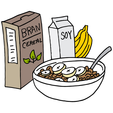 An image of a Bran cereal with bananas and soy milk. Ilustracja
