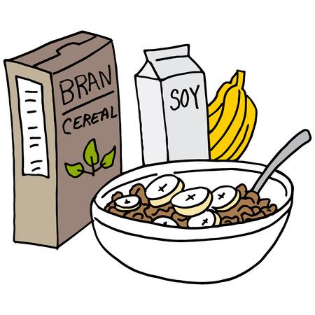 Een beeld van een Bran ontbijtgranen met bananen en sojamelk.