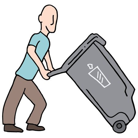 An image of a Man moving trash can.