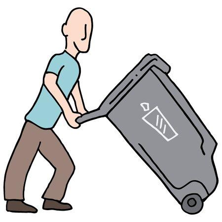 Ein Bild von einem Mann zu bewegen Mülleimer.