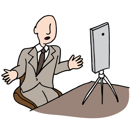 telephone interview: An image of a businessman making a live video. Illustration