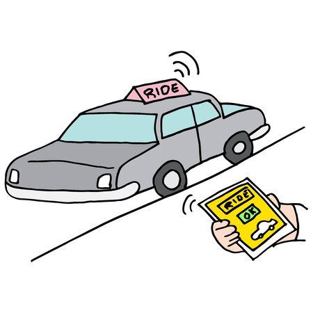 public services: An image of a car ride app service. Illustration