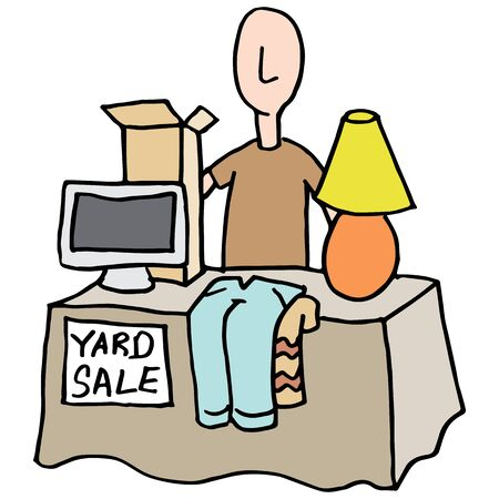 used items: An image of a Man having a yard sale.