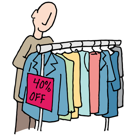 clothing rack: An image of a Man shopping for clothes.