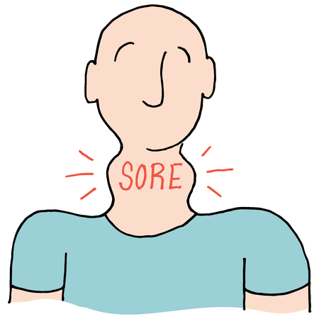 sore throat: An image of a Man with a sore throat. Illustration