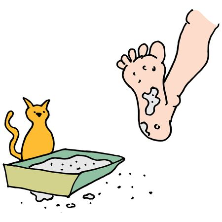 Ein Bild von einem Mann in schmutzigen Katzenklo zu treten.