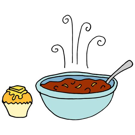chilies: An image of a Bowl of chili and cornbread muffin. Illustration