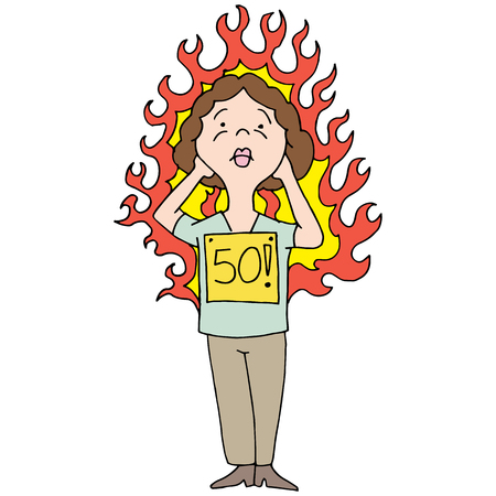 An image of a middle aged woman having a hot flash.
