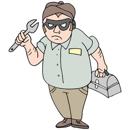 An image of a handyman thief mechanic. 向量圖像