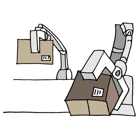 An image of a robotic arm moving boxes.