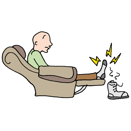 aching: An image of a man with a sore entire feet sitting in a chair.