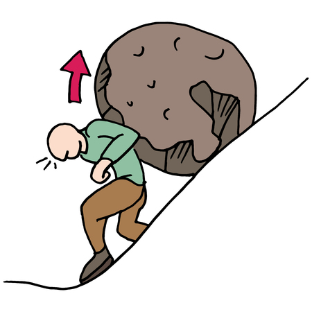 empujando: Una imagen de un papel de hombre en una roca hasta una colina.