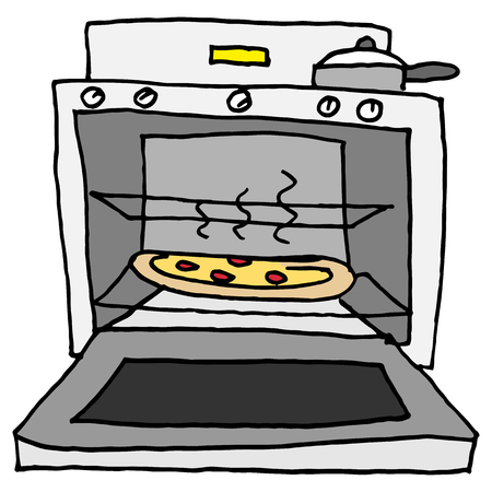 An image of a pizza baking in oven. Illustration