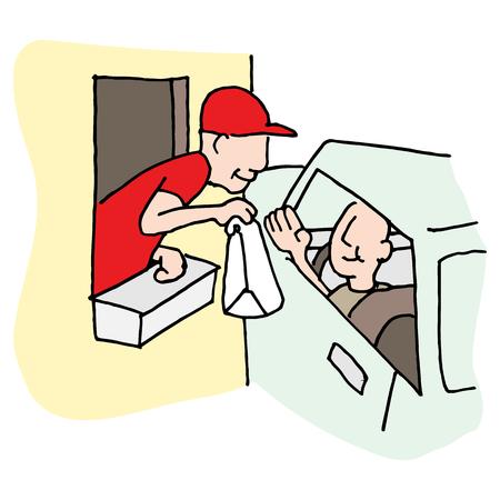 finestra: L'immagine di un fast food in auto attraverso la finestra.