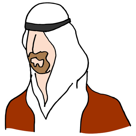 man with a goatee: An image of a Middle Eastern man. Illustration