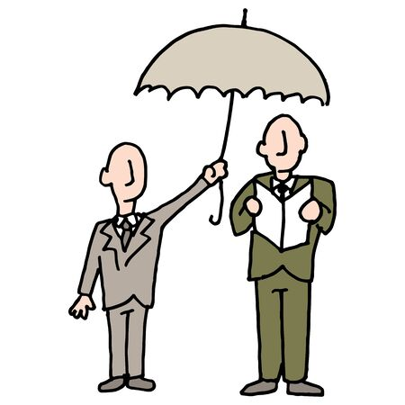 An image of a man sharing his umbrella with another man. Çizim