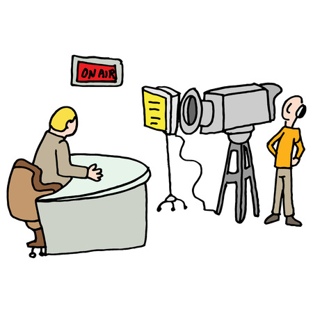 An image of a Newscaster reporting live in a studio. Ilustrace