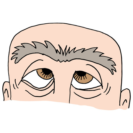 uni: An image of Man with unibrow. Illustration