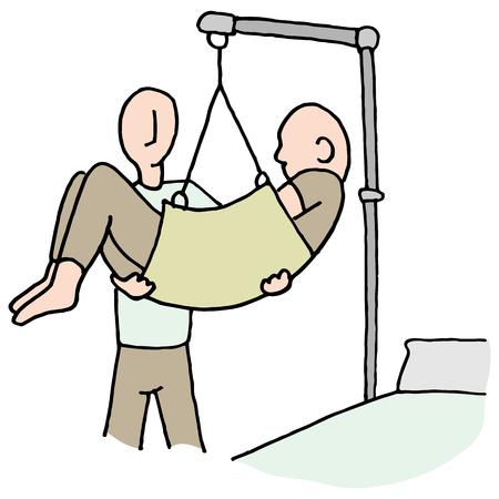 Een beeld van een gehandicapte man opgetild door hydraulische lift machine. Stock Illustratie