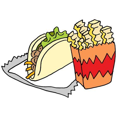 L'immagine di una piega taglio patatine strada taco cibo. Archivio Fotografico - 55683931