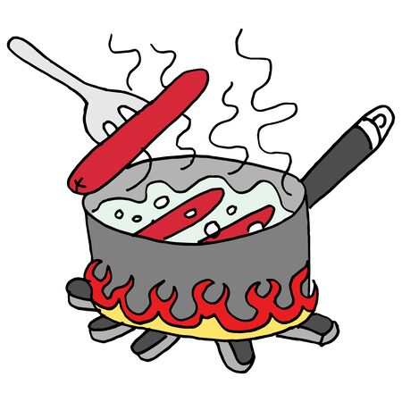 pots: An image of a Hot dogs boiling in a pot of water.