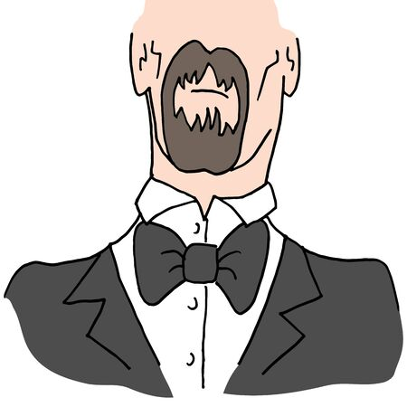 man with a goatee: An image of a Man wearing a bow tie.