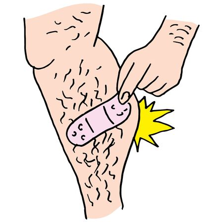 human leg: An image of a Man pulling bandage from hairy leg.