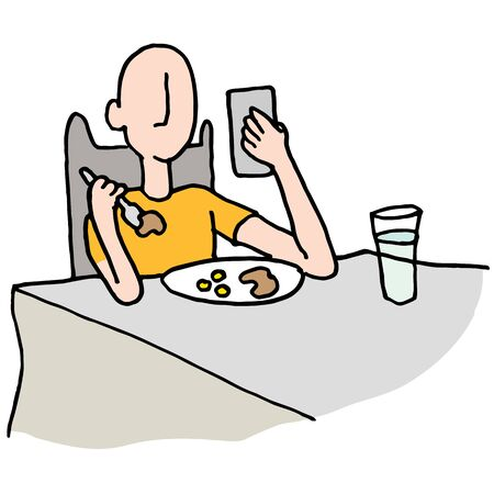 An image of a Man reading his phone while eating.