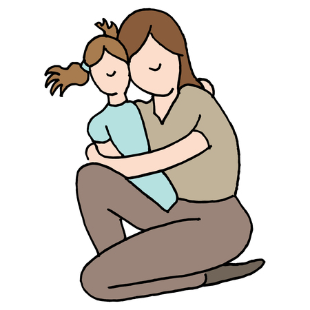 hugging: An image of a Mother hugging her young daughter.