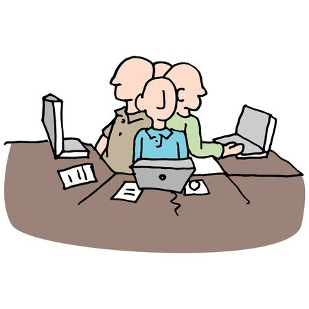tight: An image of a stressful crowded workplace environment. Illustration