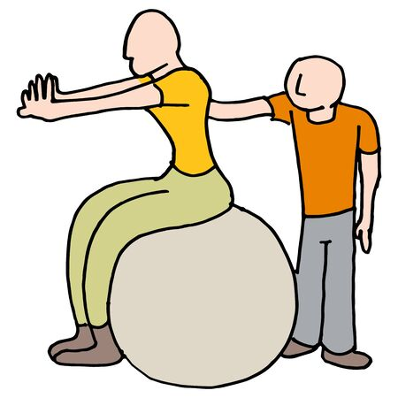An image of a Womand stretching with her trainer.