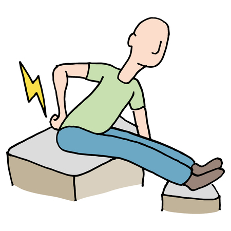 spasm: An image of a Man with back pain problem. Illustration
