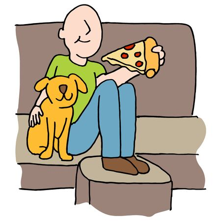 couches: An image of a Man eating pizza slice with dog on sofa. Illustration