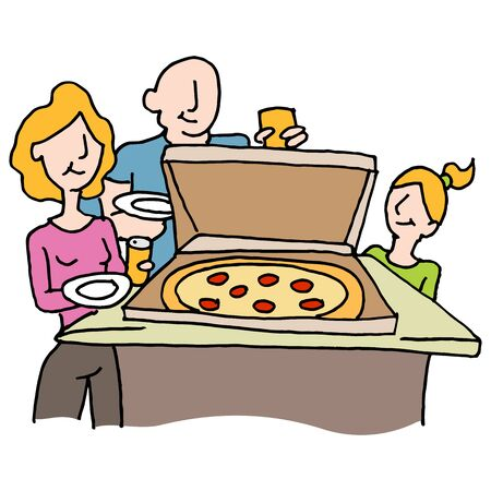 family dinner: An image of a Pizza dinner family night. Illustration