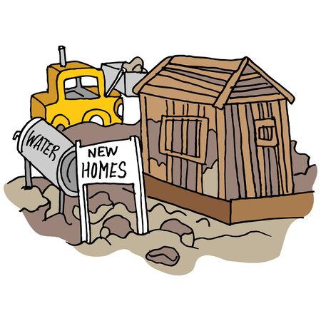 An image of a New home construction site. Ilustracja