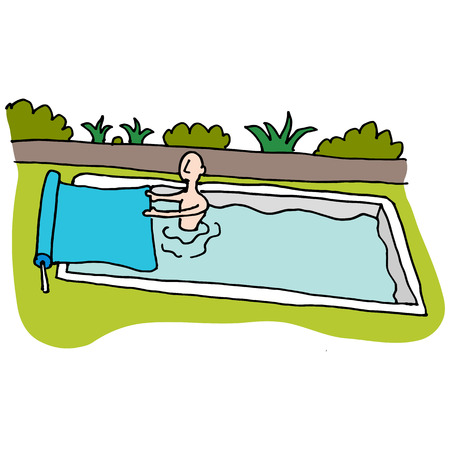 inground: An image of a Man using solar blanket pool cover.
