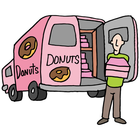 delivery driver: An image of a Doughnut delivery driver.