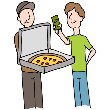 paying: An image of a Man paying pizza delivery guy.