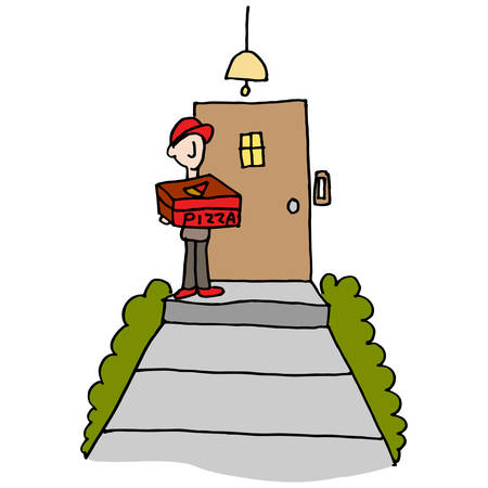 man carrying box: An image of a Pizza delivery man at the front door.