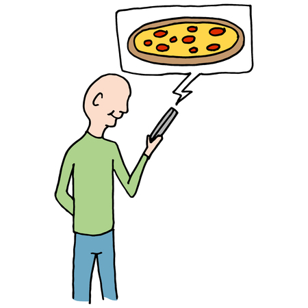 ordering: An image of a Man ordering pizza using mobile phone.