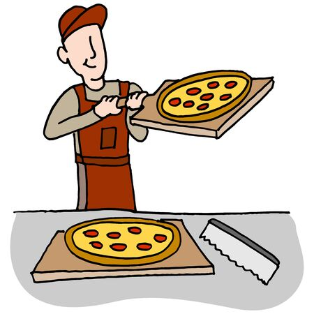 An image of a Cook preparing and slicing pizza.