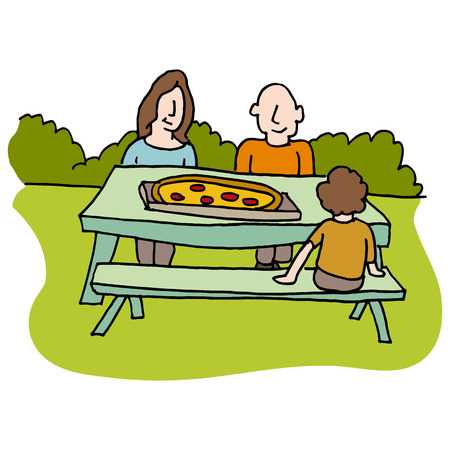 picnic table: An image of a Family eating pizza at picnic table. Illustration