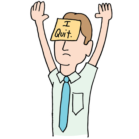 sticky: An image of a surrendering businessman with arms raised.