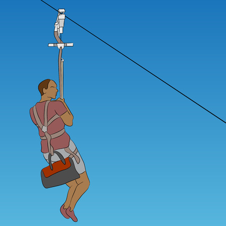 An image of a african male zip line rider. Illustration