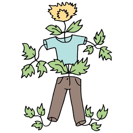 pubertad: Una imagen de un niño que crece como una mala hierba. Vectores