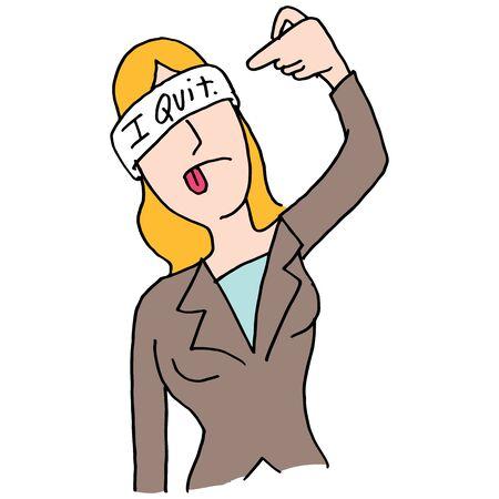 Een afbeelding van een wachtende zakenvrouw schieten zichzelf in het hoofd handgebaar.