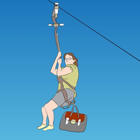 An image of a female zip line rider. Illustration
