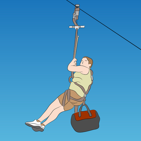 An image of a young male zip line rider.